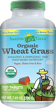 Amazing Grass Organic Wheat Grass, 200 Count, 1000Mg Tablets >>> To view further for this item, visit the image link.