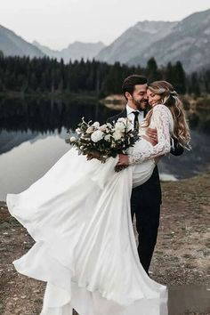 wedding pictures Long Sleeve Two Pieces Lace Round Neck Beach Wedding Dresses Chiffon Boho Bridal Gowns Wedding Poses, Wedding Photoshoot, Wedding Couples, Wedding Couple Photos, Wedding Stills, Bride And Groom Pictures, Outside Wedding Pictures, Ideas For Wedding Pictures, Senior Pictures