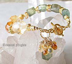 Shaded Citrine and Moss Aquamarine Nugget and 22kt gold vermeil artisan bracelet