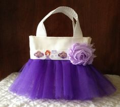 Sofia The First tutu tote Sofia the First birthday party favor bags   www.facebook.com/gigglesandwigglestutus