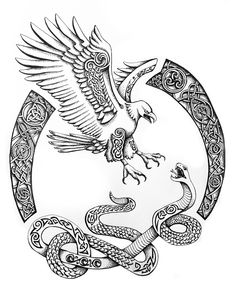 Illustration, Celtic Drawing, The Serpent and the Eagle, K.Kristine Designs, tattoo design option