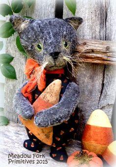 Primitive Folk Art Handcrafted Fur and Fabric Kitty--Kitty-Boo-Halloween Cat-Candy Corn-Vintage-Hafair team, FAAP by MeadowForkPrims on Etsy