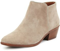 "Sam Edelman Petty Suede Ankle Bootie, Putty -- Sam Edelman suede ankle bootie. 1.5"" stacked heel. Round toe. Side zip eases dress. Smooth outsole. ""Petty"" is imported. @Bibblebits"