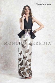 67210ca6f9 Vestido largo con falda de brocado moncho heredia Vestidos De Fiesta  Elegantes