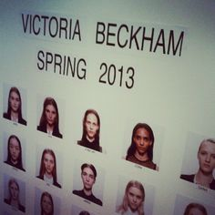 The model board at Victoria Beckham - Spring 2013.