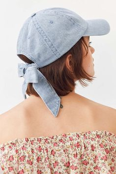 Slide View: 1: Denim Tie-Back Baseball Hat