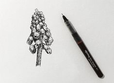Instead, we can use a pen with a smaller nib size to create thinner lines for background objects and bigger Flower Art Drawing, Flower Drawing Tutorials, Floral Drawing, Art Tutorials, Painting Tutorials, Outline Drawings, Pencil Art Drawings, Easy Drawings, Art Sketches