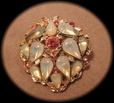 Beautiful Moonsone Glass and Pink Rhinestone Pin by thejeweledbear, $18.00
