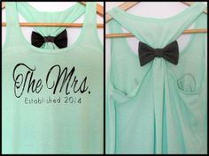 The Mrs. Established 2014 / 2013 Bow Tank Top on Etsy, $30.00