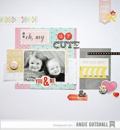 I had this layout and card on the American Crafts  blog Friday.  Don't you just love glitter? I do!   I used the American Crafts Day Dreamer...