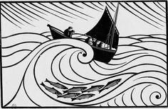 """René Quillivic, """"La vague"""", (gravure sur bois) - L'art et les artistes octobre 1930"""