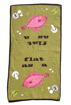 Vintage Towel Mid Century Modern Flat as a Fish by unclebunkstrunk