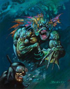 simon bisley - sea monster threatens diver Simon Bisley, Sci Fi Horror, Horror Comics, Horror Art, Pictures To Paint, Art Pictures, Underwater Creatures, Monster Art, Fantasy Monster