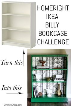 Umgestaltetes Billy Bücherregal // I love this #IKEA Billy #bookcase revamp . .. especially the background paper .