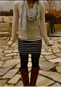 Layer a sweater over a summer dress, add tights and boots- great idea!