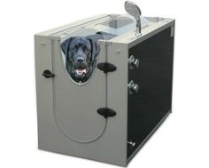 The Canine Shower Stall is a box that your dog goes in and gets sprayed with 16 different jet nozzles and a shower head in an enclosed area. Great for when your dog is outside running around in the mu...