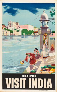 Photo Vintage, Vintage Ads, Vintage Airline, India Poster, Udaipur India, Tourism Poster, Asia, Travel Ads, Vintage India