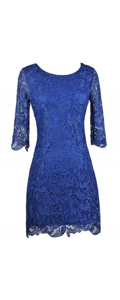 Lily Boutique Royal Blue Crochet Lace Three Quarter Sleeve Dress, $38 Royal Blue Lace Dress, Bright Blue Lace Sheath Dress, Blue Cocktail Dress, Blue Party Dress www.lilyboutique.com