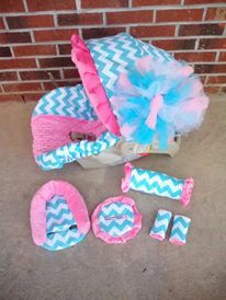 For Baby Ava Custom made carseat cover set by BowsFromAbove on Etsy, $85.00