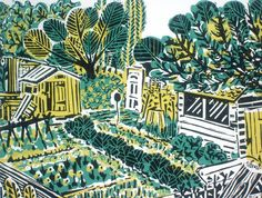 Allotment Plot Original Linocut Print An original three colour hand printed linocut from a recent series of shed studies. Inspired by a local