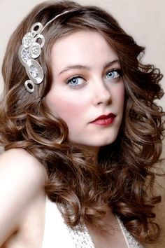 Bride's down curls bridal hair Toni Kami Wedding Hairstyles ♥ ❷ Wedding hairstyle ideas  art deco Gatsby headband