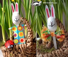 Five Spring Ideas from Plastic Spoons: Best Easter Crafts for Kids. List of simple and absolutely adorable Easter crafts and activities for kids! Holiday Crafts For Kids, Bunny Crafts, Easter Crafts For Kids, Kreative Jobs, Nursing Home Crafts, Paper Bunny, Easter Coloring Pages, Puppet Crafts, Diy Ostern