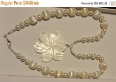 CIJ SALE Classic Mother of Pearl Flower  Necklace with bracelet V4709
