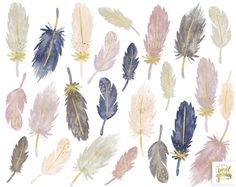 Watercolor Feather Clipart. Pastel Tribal Boho Clip Art. Gold | Etsy