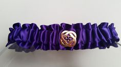 Silky Purple Classic Garter with Gold Notion by HemHouse on Etsy