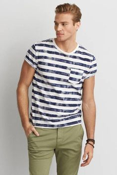 AEO Bleach Stripe T-Shirt  by AEO | Your favorite T, now even better than ever with a new classic fit. Washed for softness