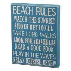 ''Beach Rules'' Wooden Box Sign Art