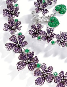 Amethyst, diamond, and emerald violet necklace by Michele della Valle.