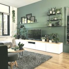 Deco ♢ Farben und Holz Raphal Raum Ideas On How To Use Container Gardening To Decora Living Room Green, Living Room Tv, Home And Living, Interior Design Living Room, Living Room Designs, Living Room Inspiration, House Design, Home Decor, Backdrop Wedding