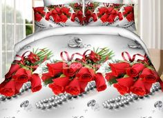Charming Red Rose and Diamond Print 4-Piece Polyester #3D Duvet Cover #bedroom #bedding