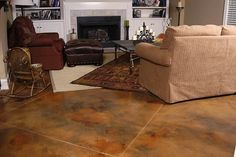 Love the Acid Stain concrete floors. Methods for Blending Two Colors of Acid Stain Acid Wash Concrete, Acid Stained Concrete Floors, Painted Concrete Floors, Stain Concrete, Stamped Concrete, Concrete Design, Cement, Site Photo, Floor Stain