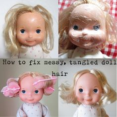 Fixing messy doll hair and removing surface dirt from your doll is easy - all you need is some lotion, shampoo, conditioner, and some patience. A Mr. Clean Magic Eraser works well for removing stubborn marks. These techniques can be used on almost any doll, old or new.