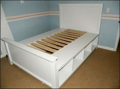 DIY - Full Size Storage Bed, shelving units on their sides, wooden slates, diy headboard (or re-purpase ones you have.