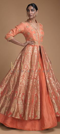 Coral Peach Jacket Lehenga In Brocade Silk With Floral And Flower Pot Motifs Online - Kalki Fashion Jacket Style Kurti, Jacket Lehenga, Brocade Lehenga, Lehenga Gown, Anorak Jacket, Bomber Jackets, Denim Jackets, Puffer Jackets, Leather Jackets