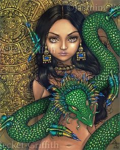 Priestess of Quetzalcoatl Aztec Dragon Mexico Mayan gothic fantasy fairy art print by Jasmine Becket-Griffith 12x16 BIG