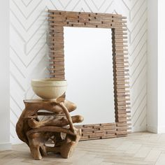 Stately with a sense of grandeur, the extra large slatted solid wood mirror features slated wood pieces that shift back and forth for a jagged silhouette. Wood Slat Wall, Wood Slats, Wood Mirror, Wall Mounted Mirror, Extra Large Mirrors, Leaning Mirror, New Farm, Beautiful Mirrors, Traditional Furniture