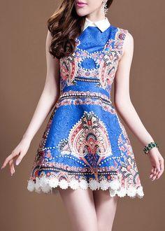 #504 Printed Beaded Lapel Dress