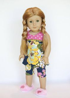 American Girl doll sized pajamas   pink polkadot blue