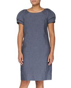 Ruched-Sleeve Shift Dress, Denim Blue by Monique Lhuillier at Neiman Marcus Last Call.