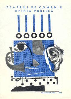 """""""Public Opinion"""" Romanian theater program book design (1971-1972). designer unknown. via flavorwire"""