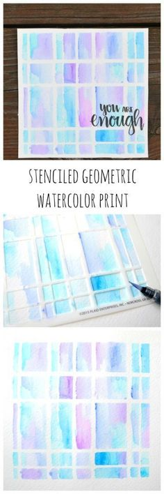 Stenciled Geometric Watercolor Print using Tombow markers | One Artsy Mama for http://dawnnicoledesigns.com