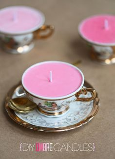 DIY OMBRE Tea Cup Candles