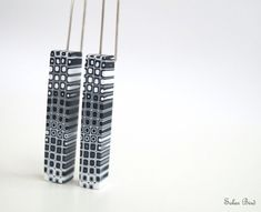 Black and white dangle earrings Geometric jewelry by SolarBird, $25.00
