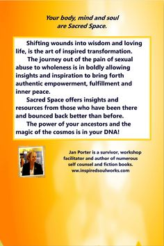 """""""Sacred Space, mind body soul after sexual abuse"""" back cover Mind Body Soul, Body And Soul, Inner Peace, Insight, Ebooks, Mindfulness, Wisdom, Space, Cover"""