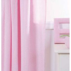 Gingham Pencil Pleat Curtains, Pink
