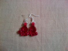 paper quilling earrings :   Red earring Rs 40/-